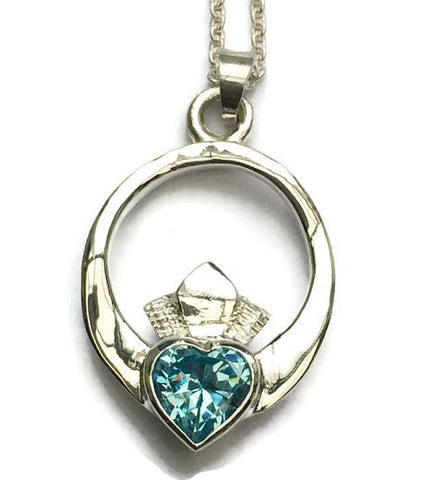 Silver claddagh with london blue topaz