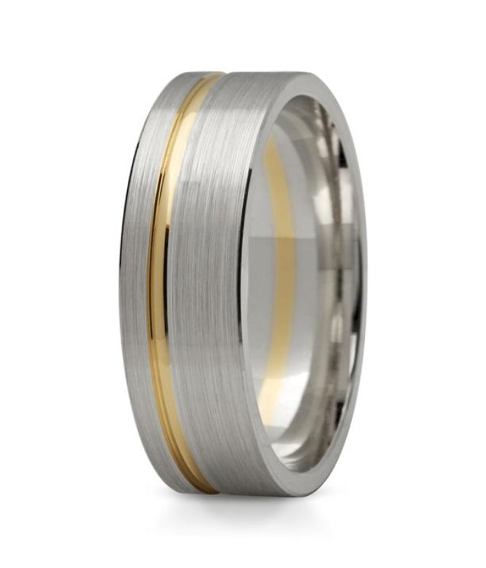 6mm two tone gents wedding ring
