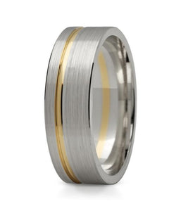 6mm Two Tone Offset Groove Ring (Flat) - Doyle Design Dublin