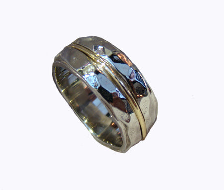 Hammered gents wedding ring
