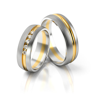 two tone pair wedding rings with offset details