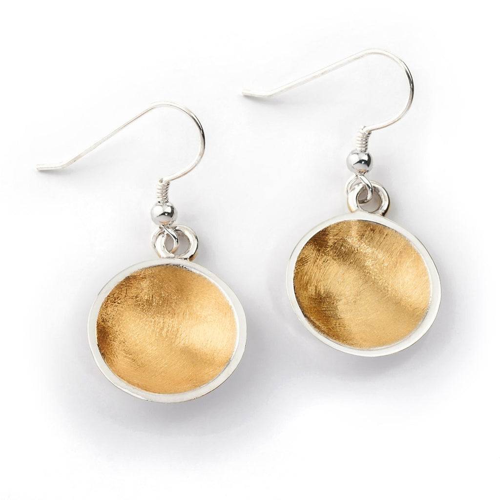 Bowl Drop Earrings - 22ct Gold Vermeil & Sterling Silver