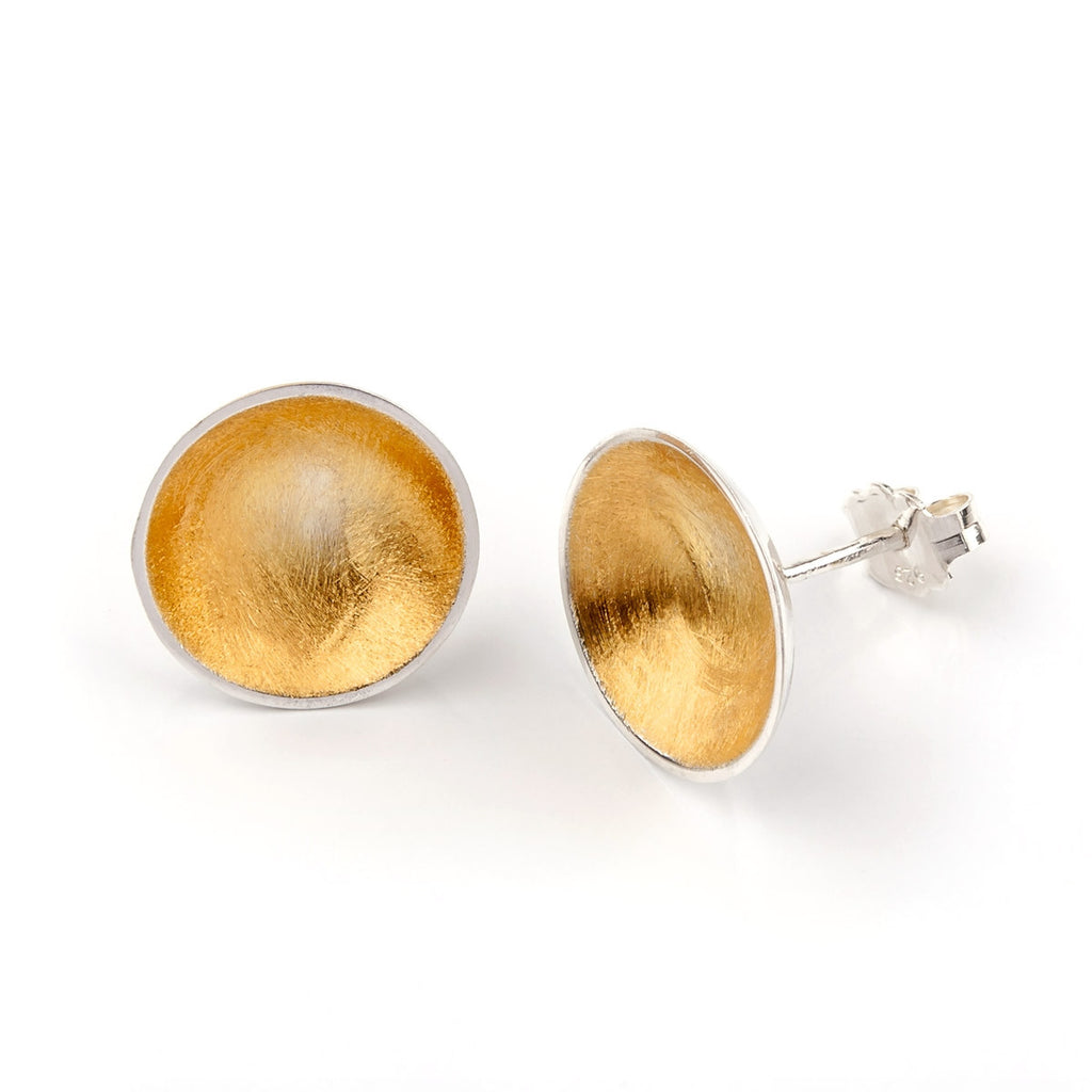 Bowl Stud Earrings  - Sterling Silver & 22ct Gold