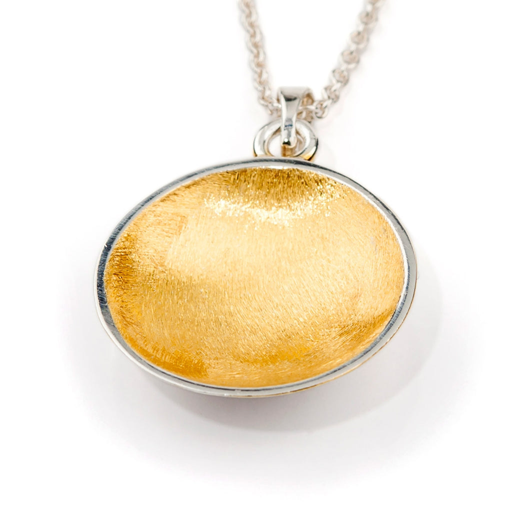 Brushed Bowl Pendant - Sterling silver & 22ct gold Vermeil (small) - Doyle Design Dublin