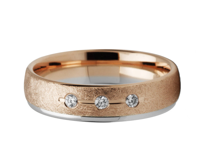 Rose & White Gold Diamond Set Ring
