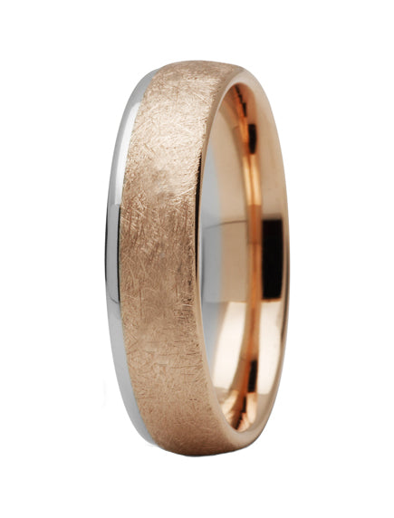 Rose & White Gold Chamfered Edge Ring - Doyle Design Dublin