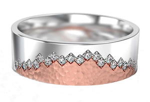 white and rose gold wedding ring with diamonds