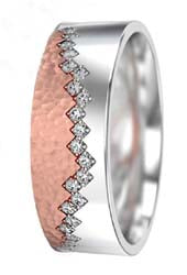 rose and white gold wedding ring with diamonds