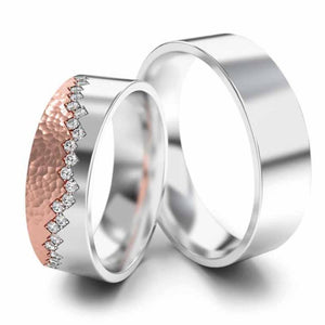 his and her wedding rings white and rose gold and plain white gold