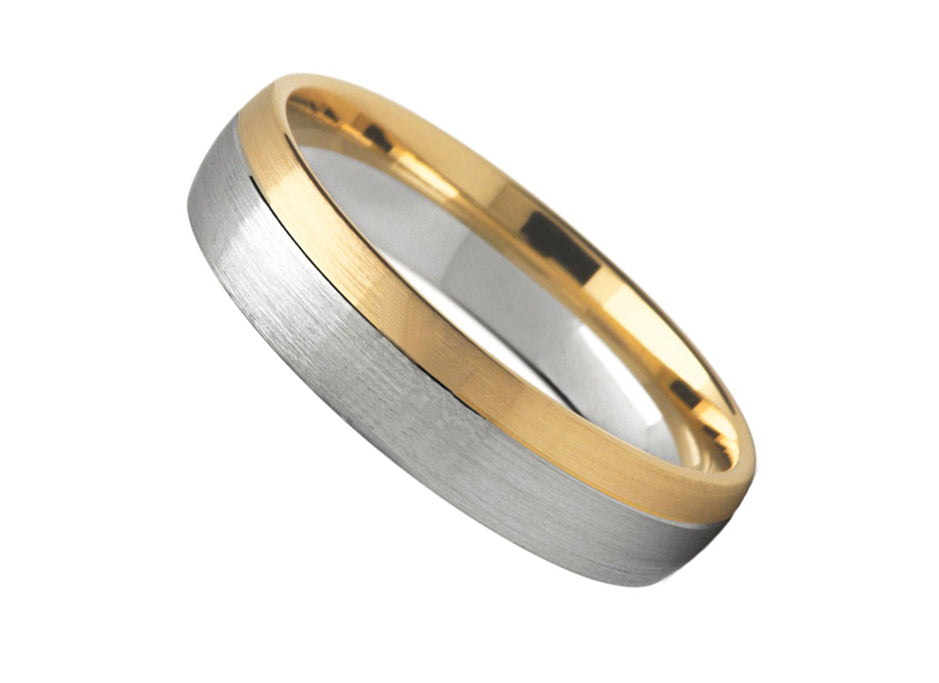 Offset Two Tone Brushed Finish Ring (4.5mm)