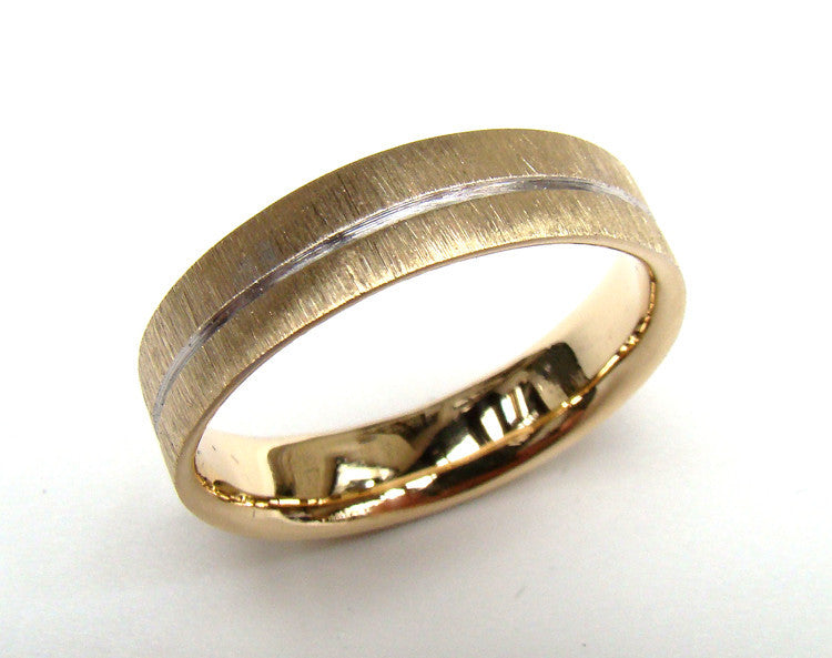 Gents yellow gold wedding ring with scratch finish