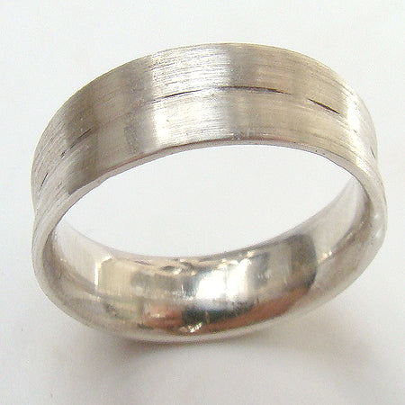 white gold ring concave shape with groove detail