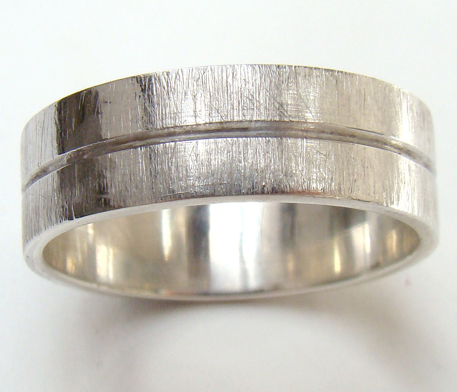 White gold handmade wedding ring