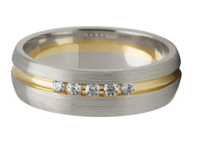Diamond Set Groove Ring (two tone)