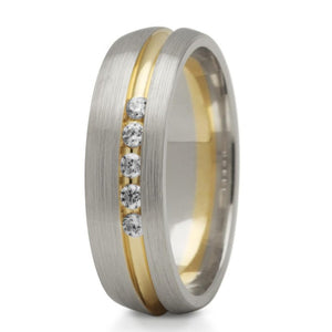 Diamond Set Groove Ring (two tone) - Doyle Design Dublin