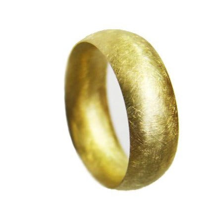 6mm Gold Wedding Ring Court Shape with Random Scratch Finish