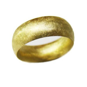 handmade gold domed wedding ring with scratch finish