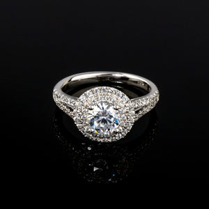 Round Double Halo Diamond Engagement Ring - Doyle Design Dublin