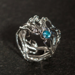 Silver Wicker Ring set with Gemstone