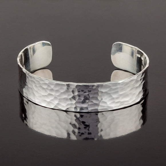 Sterling Silver 15mm Wide Hammered Torc Bracelet - Doyle Design Dublin