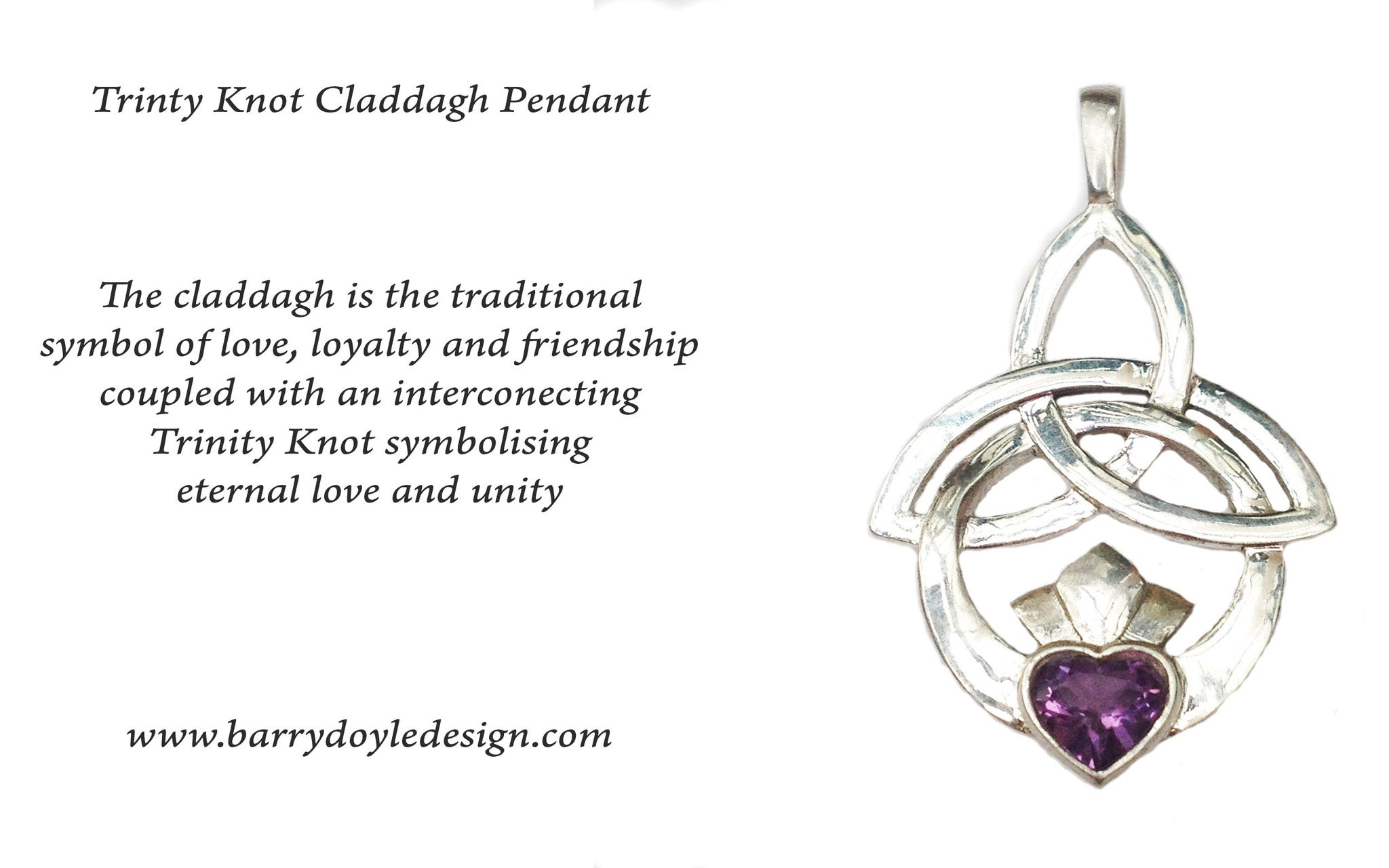 Story card for Trinity Knot Claddagh Pendant made in Ireland