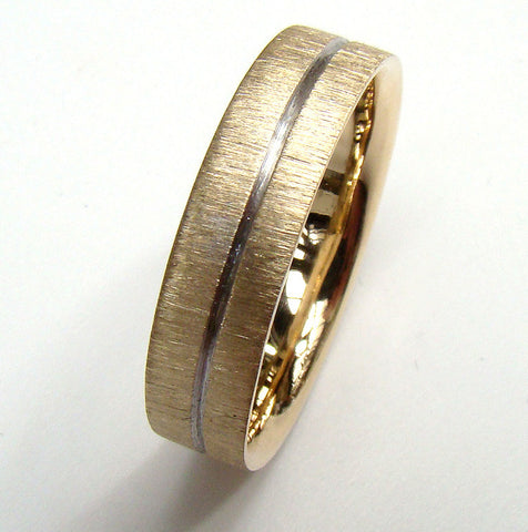 5mm Gold Wedding Ring with Groove Detail & Scratch Finish (inside court)