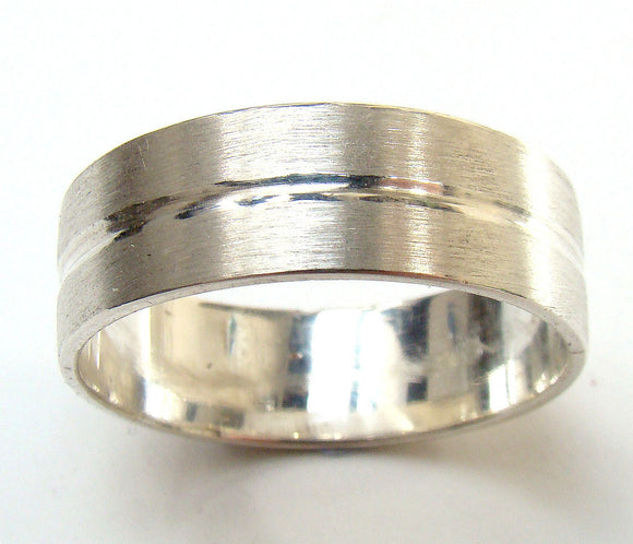 White Gold Mans Groove Ring with Emery Finish (7mm) - Doyle Design Dublin