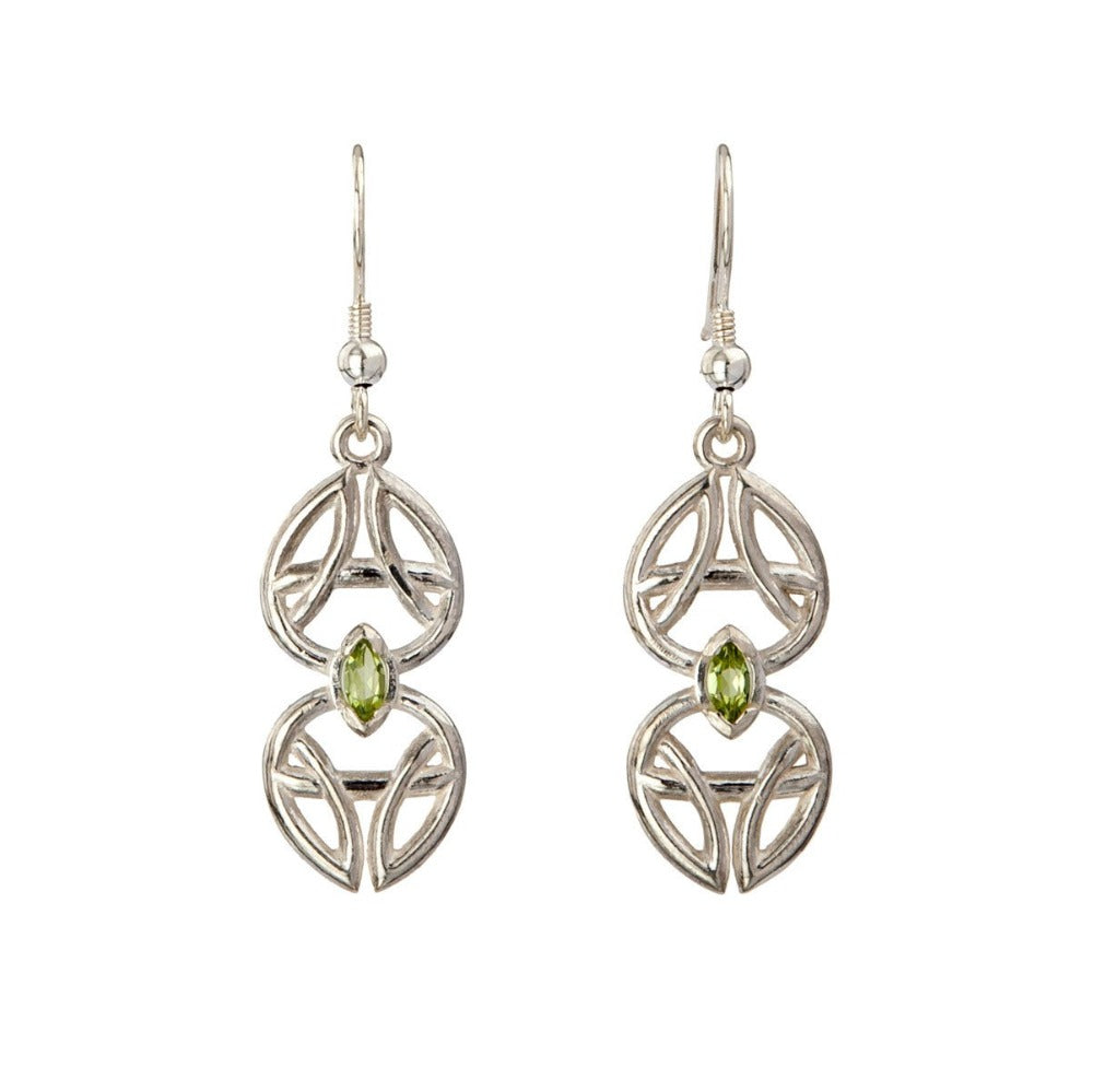 Danu Earrings - Sterling Silver & Marquise cut Gemstone