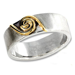 Silver and gold spiral ring