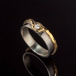 Two Tone Orbed Wedding Ring - Doyle Design Dublin