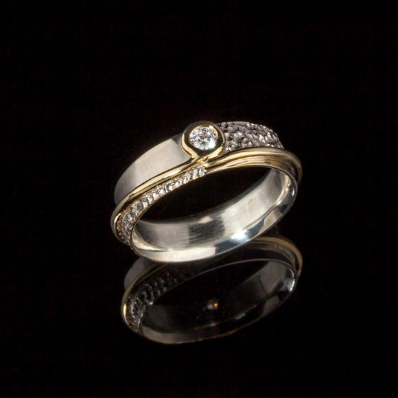Two Tone Diamond Wedding/Engament Ring - Doyle Design Dublin