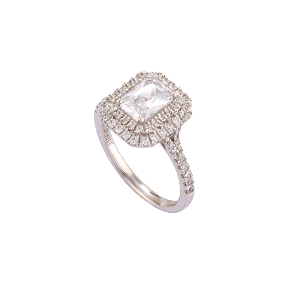 Rectangular Radiant Cut Double Halo Diamond Ring