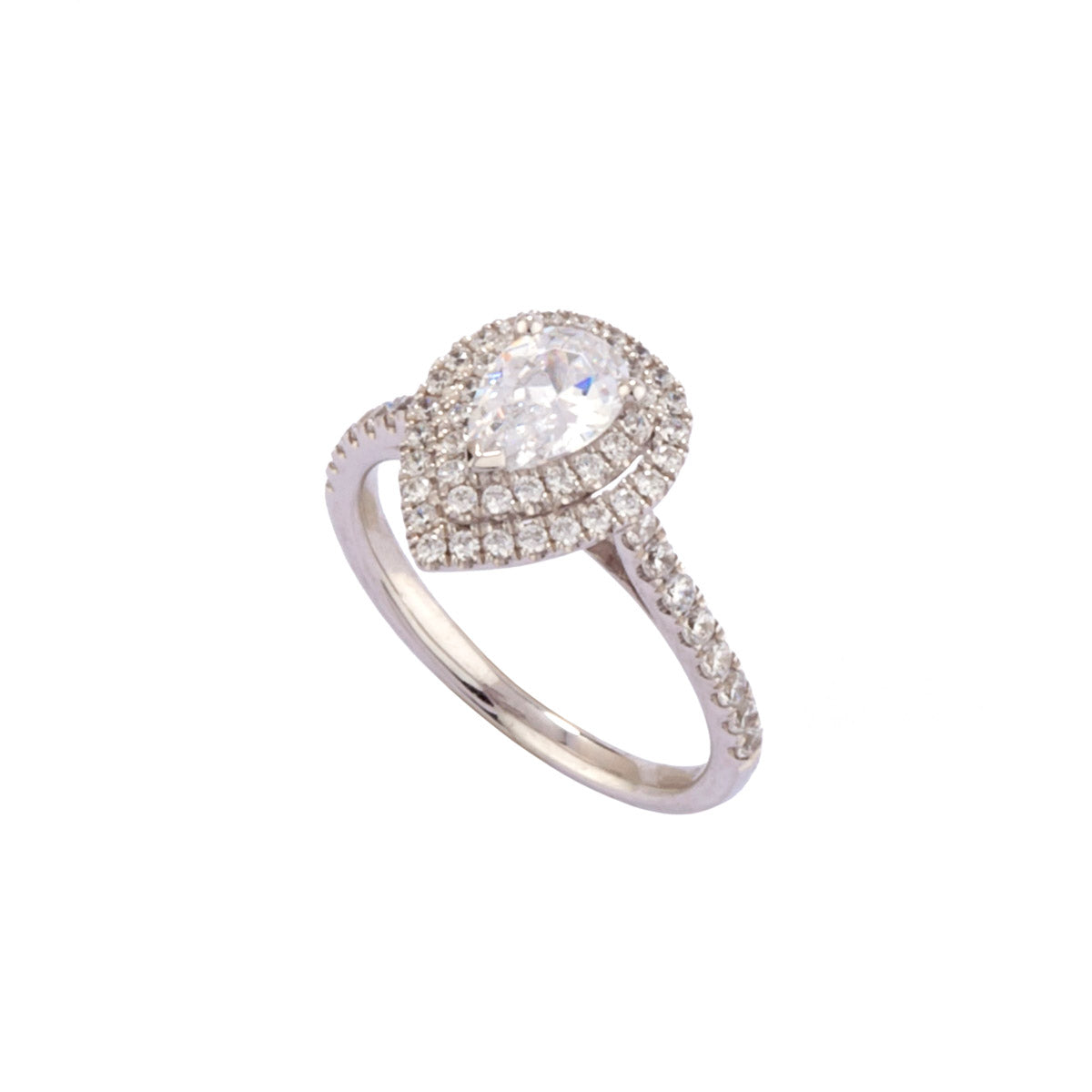 Pear Shaped Diamond Double Halo Ring