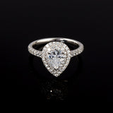 Pear Shaped Diamond Double Halo Ring - Doyle Design Dublin