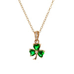 Gold Shamrock Pendant with Emerald & Diamond  (small)