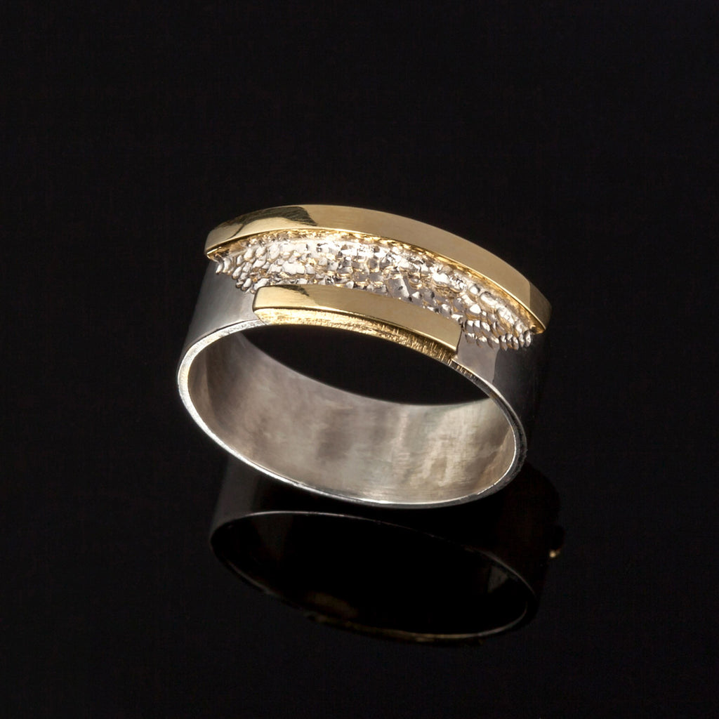wide gents two tone wedding ring