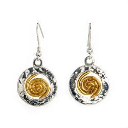 Spiral o)f Life Circle Earrings (22ct Gold Vermeil Spiral) Large - Doyle Design Dublin