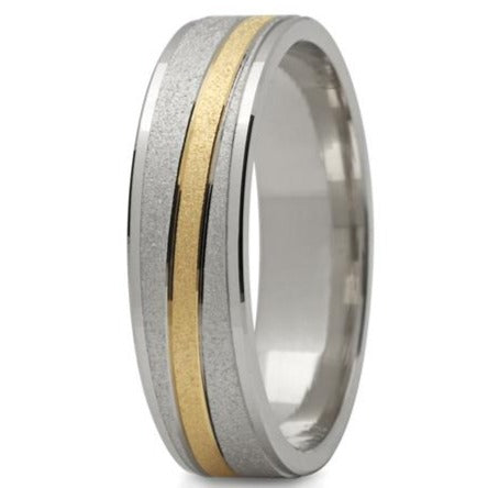 MANS 5MM WIDE 2 TONE WEDDING RING