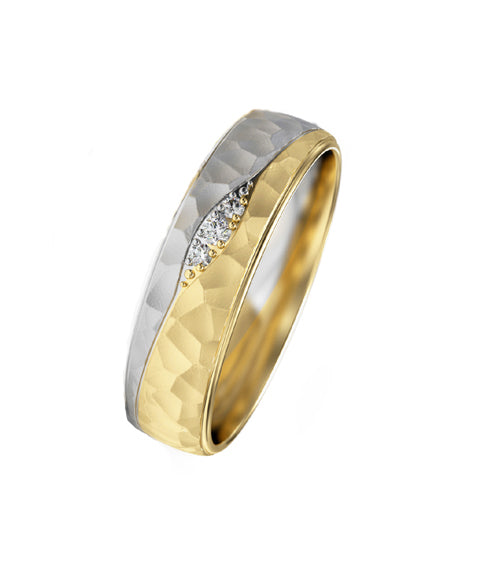 Two Tone Hammered Crevasse Ring - Doyle Design Dublin