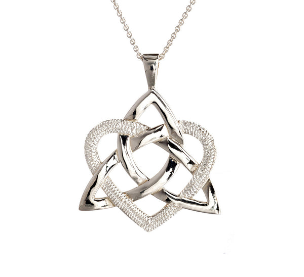 Sterling silver heart and trinity knot pendant