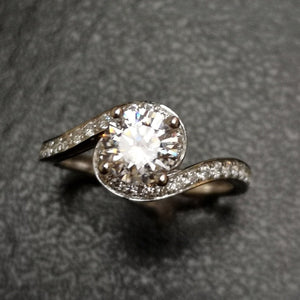 Crossover Style Halo Engagement Ring