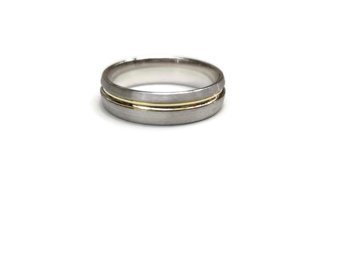 Two Tone offset Gold Groove Ring 6mm