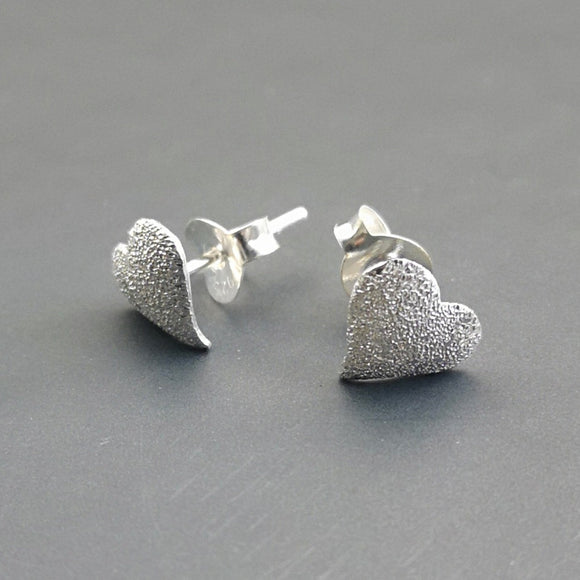 Frosted Heart Studs - Doyle Design Dublin