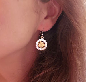 Spiral of Life Circle Earrings (22ct Gold Vermeil Spiral)
