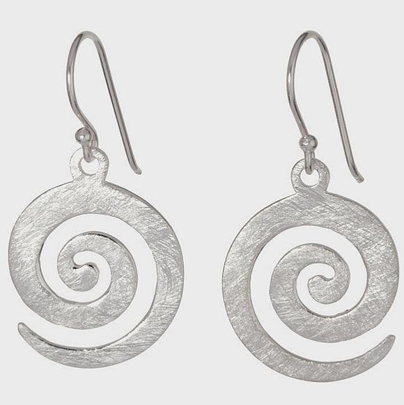 Scratched Finish Spiral Drop Earrings-Silver - Doyle Design Dublin