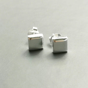 Cushion Shaped Stud Earrings-Silver - Doyle Design Dublin
