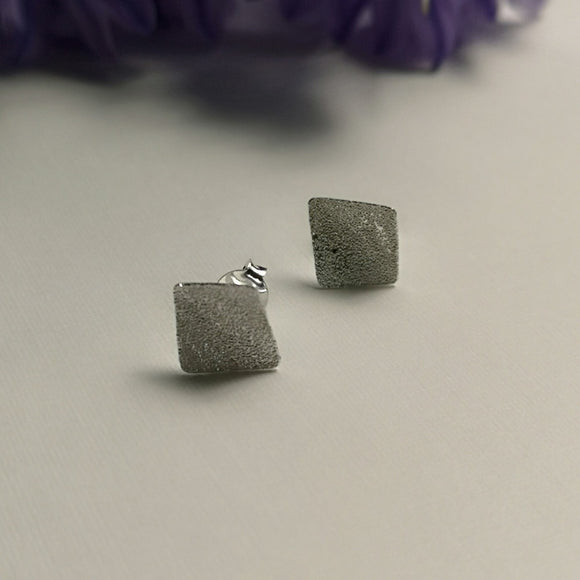 Frosted Squares - Stud Earrings - Doyle Design Dublin