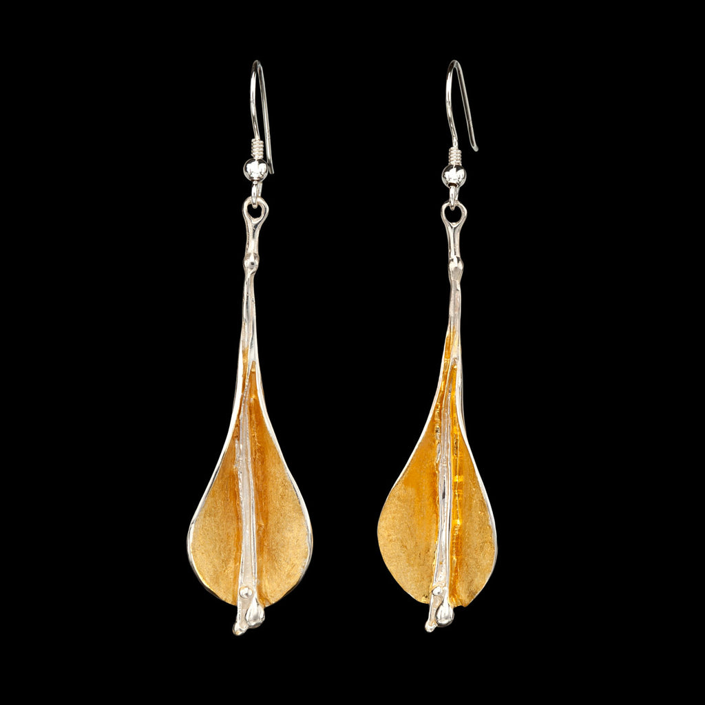 Silver and gold lilly earrings by doyle design
