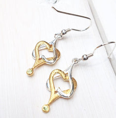Mo Chroí Hearts Earrings (two tone)