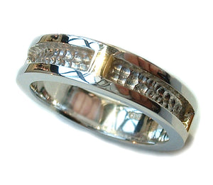 Two tone gents wedding ring
